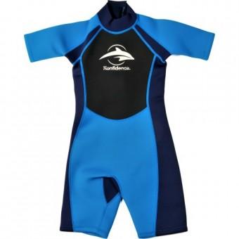 Costum copii pentru inot din neopren Shorty Wetsuit Blue
