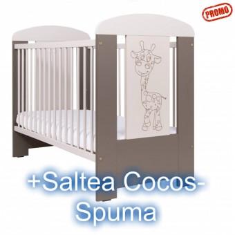 Patut Copii din Lemn Giraffe Capucino+Saltea Cocos