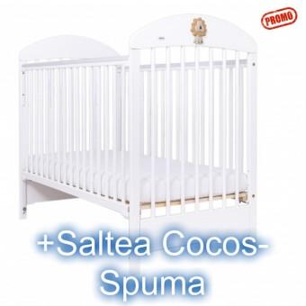 Patut cu Laterala Culisabila Lion white+Saltea Cocos
