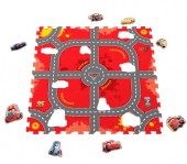 Covor puzzle din spuma Soft Cars 3 Modular Race 9 piese